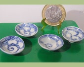 4 pieces of blue  and white dollhouse miniature   1/12 scale dollhouse miniature dollhouse footed bowls, hand sculpted in real porcelain