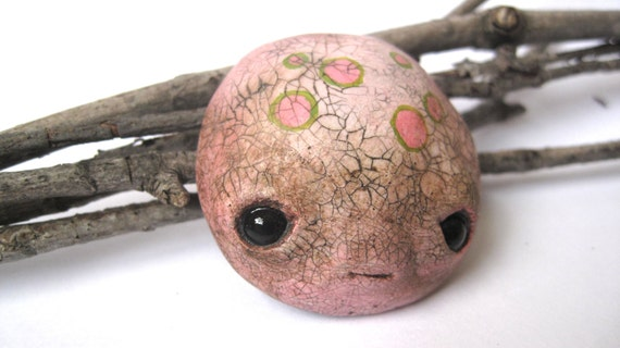 Limited Edition - Hand painted seed monster face brooch - rose pink