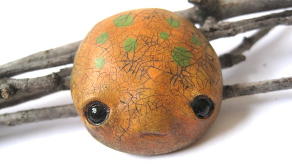 Limited Edition - Hand painted seed monster face brooch - hazard orange