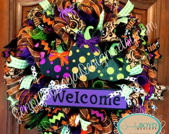 Welcome Halloween Wreath with Pumpkins - Ready to Ship