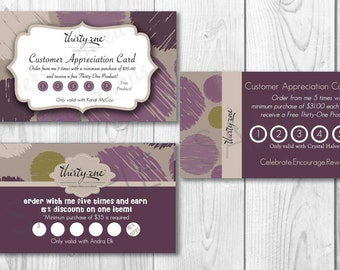 Customer/Hostess Appreciation Cards made for Thirty-One Gifts - Plum Sketchy Dot