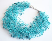 FREE SHIPPING. Turquoise necklace, multistrand necklace, air Necklace, Turquoise natural stone necklace