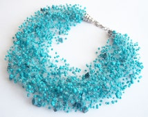 Turquoise necklace multi strand choker air jewelry ocean sea beadwork bib gift idea for her teal beach summer fashion bridesmaid bridal
