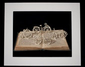 """Book Sculpture 'Bicycles' Mounted 10"""" x 8"""" Photographic Print"""