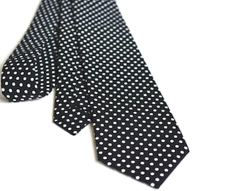 Men's neck Tie-black and white polka dot neck tie for men, weddings