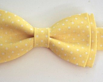 Boys Bow Tie yellow and white pin dots,Bow tie for kids, cotton bow tie,bow tie for boys, mens bow ties