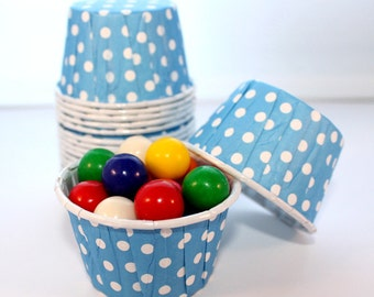 Primary Blue Polka Dot Candy Cups - Set of 20 - Birthday, Bridal Shower, Baby Shower, Wedding, Treats