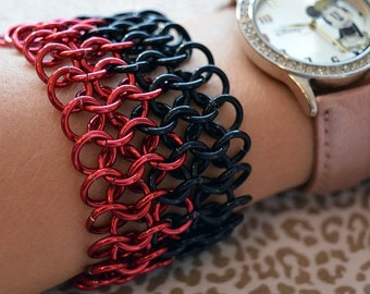 Black and Red Chainmaille Cuff