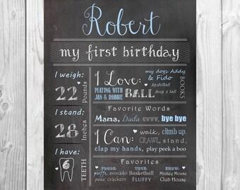 First Birthday Chalkboard CUSTOMIZED Poster Sign: One Year Girl /Boy First Birthday Chalkboard Stat digital file prop/decor