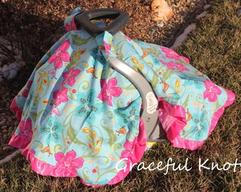 Baby Girl Infant Car Seat Cover Tent Canopy Aqua Chevron