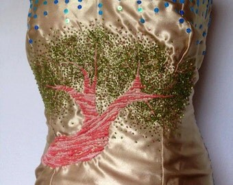 Embroidered corset with Crystal