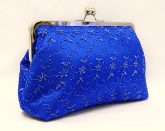 Royal Blue Clutch, Royal Blue and Silver Lace Clutch, Evening Clutch, Wedding Clutch Purse, Lace Clutch, Bridesmaid Clutch Purse