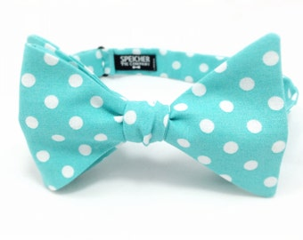 Robins Egg Blue Polka Dot Bow Tie - bowtie, bowties, bow ties, fun, cool, wedding, weddings, summer, spring, mens, boys
