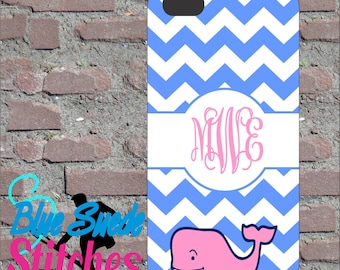 Blue Chevron Vineyard Vine Custom Monogram Phone Case