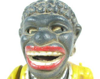 Mechanical Cast iron bank, Black Americana, African American,vintage toy, Antique Bank, Yellow, Black