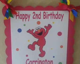 Elmo Happy Birthday Door Sign