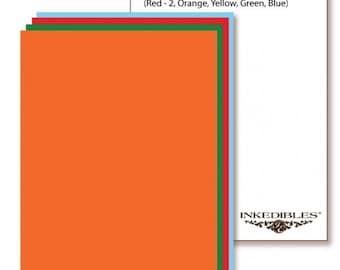 Inkedibles Premium Frosting ChromaSheets Vivid Color Sampler: 10 sheets Letter Size (2 each Red, Orange, Yellow, Green, Blue)