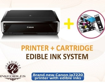 Canon PIXMA iP7220 Wireless Inkjet Photo Printer - includes brand new printer with complete set of edible ink cartridges