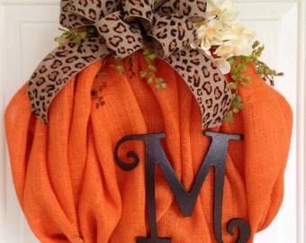 Burlap wreath fall wreath fall decor burlap Burlap home decor pumpkin wreath Halloween