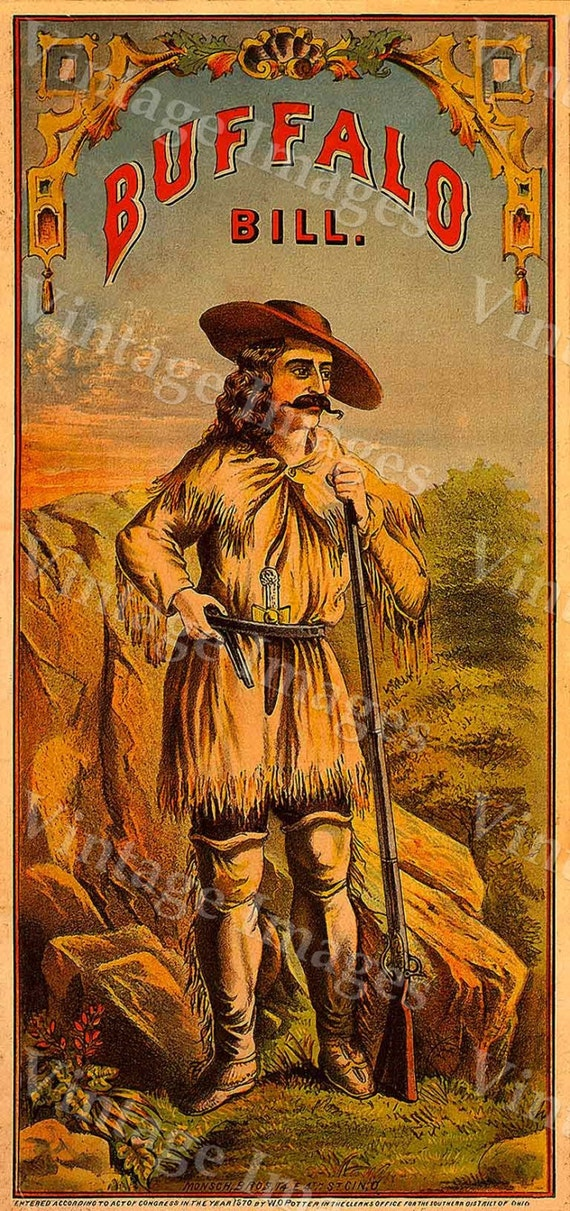 Vintage Buffalo Bill Cody Old Western Crate Cigar Tobacco Label man cave Poster 8 X 17 Fine Art Print