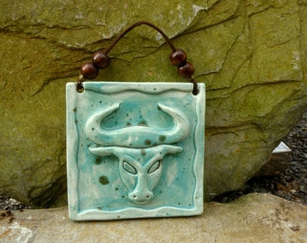Wall art Zodiac pottery TAURUS Turquoise April 21-May 20  wall hanging Made To Order