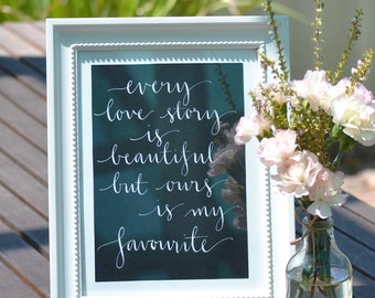 Love Quote Sign for Wedding Day / Calligraphy by Hand / Hand Written Calligraphy / Vintage Custom Print