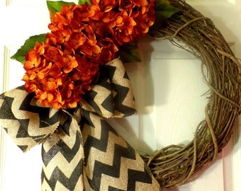 Wreaths -orange hydrangea - Fall wreath - Thanksgiving wreath - Personalized wrearth - Grapevine wreath - Autumn wreath - Wedding