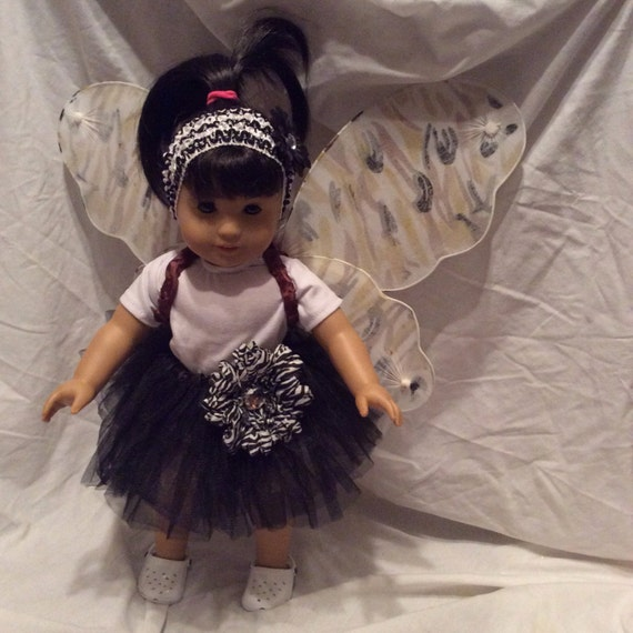 """18"""" Doll Outfit - White Leotard & Black Tutu and Camo Wings"""