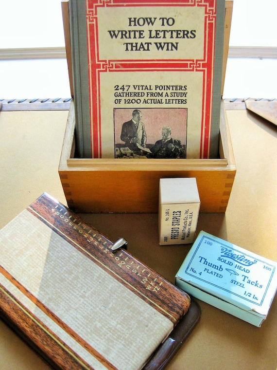 Instant Vintage Office: card file, Bates Pencilist, collectible reference book, Presto staples and Noesting Tacks