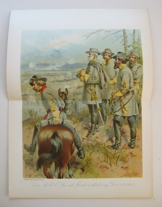 General Robert E. Lee at Fredericksburg. Two page color plate spread from 1901 book.