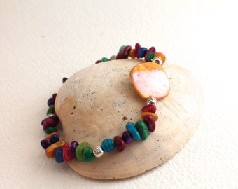 Colorful Stone and Shell Bracelet