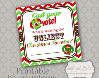 Season to be TACKY ugly Christmas sweater party Vote Cards 3x3 squares ...