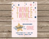 Twinkle Twinkle Little Star Glitter Birthday Invitation