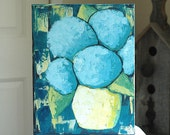 Acrylic Painting - Urban Modern Rustic - Palette Knife Painting - Original Still Life Art - Can't Stop Painting Hydrangeas