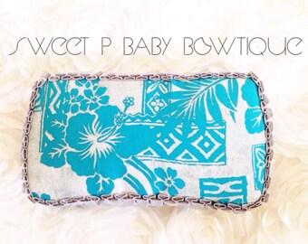 Blue and grey hawaiian flower print baby wipe case, baby wipe clutch,