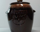Vintage McCoy Cookie Jar Brown Splatter Dripware Pottery 1970s - BridgetsCollection