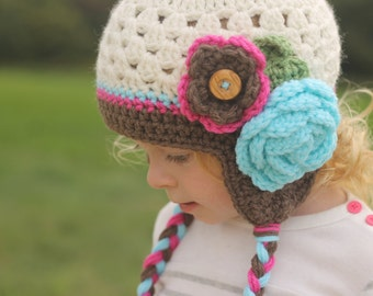 Girls hat - toddler hat - child hat - any size - cluster hat - earflap - crochet flower hat - winter hat - fall hat - photography prop