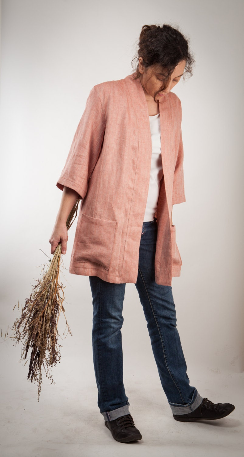 Women's jacket in pure linen pink - Handmade