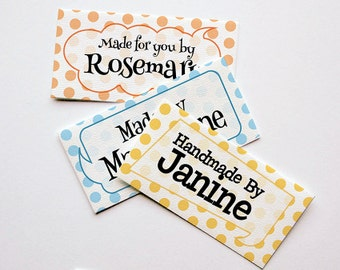 """Polka Dot Fabric Labels Sew-on - Iron-on • 80 Labels  2 x 1"""" Uncut • Name Added • Colorfast 100% Preshrunk Cotton"""
