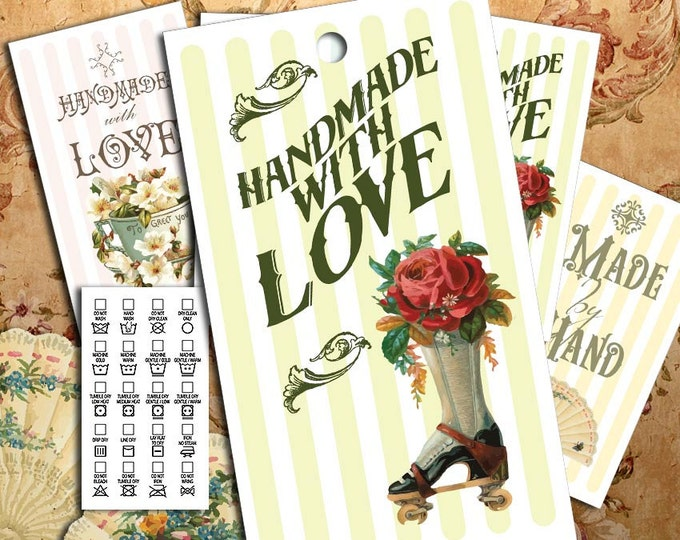 """Victorian Images on Laundry Care Tags - 300 DPI – 2 x 3-1/2"""" – Vector PDF and PNGs - Printables"""