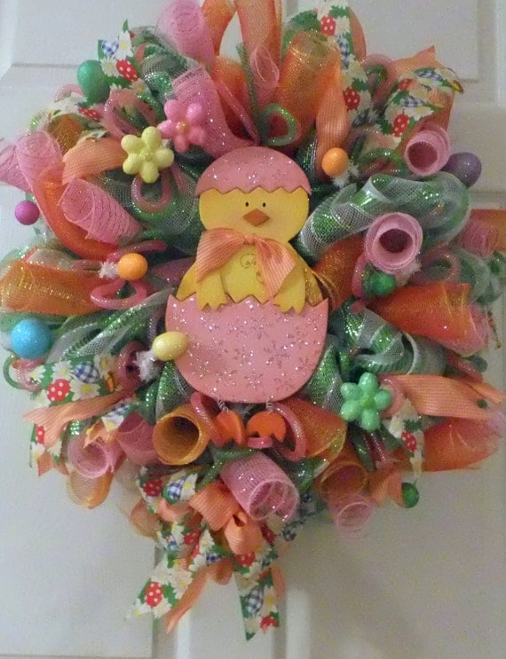 Easter Chicken Wreath Deco Mesh Wreath, Wreath, Easter Deco Mesh Wreath, Easter Decoration