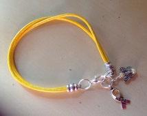 Yellow Gold Leather Bracelet-Awareness-Friendship-Child & Bladder Cancer-Sarcoma-Liver Cancer-Spina Biffida-Missing Children-Heart-Angel