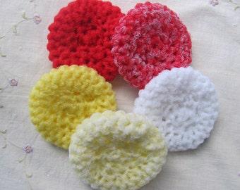 Nylon Scrubbies Set of 5 (Kitchen/Bathroom Scrub Pads) Red Scrubbies, Scrubbie Set, Nylon Netting, Handmade Scrubbies, Yellow Scrubbies