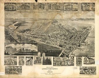 Chestertown, Maryland - 1907 Map Print
