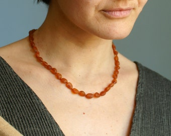 RAW Baltic Amber Necklace for Mother  knotted cognac amber olive beads