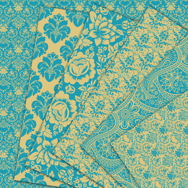 damask digital paper quotturquoise and goldquot damask