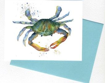Crab Card / Print Art Teal, Blue, Greem, Original Watercolor Sea art