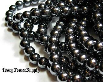 1 Strand 6mm Hematite Beads, Natural Stone Beads, Black Beads, Semi Precious Beads, Gemstone Beads, Round beads