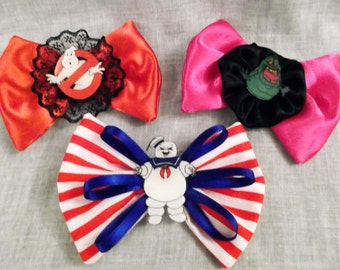 Nerdy Ghostbusters Bow Hair Clips