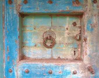 "Door Art, Old Door Architecture Photo, Rustic Blue Farmhouse Decor, Primitive Cottage Art, Rural, Weathered Peeling Paint- ""Blue Relic"""